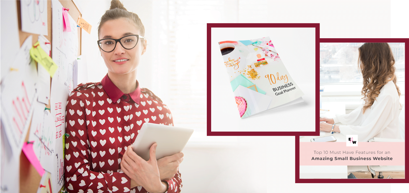 Happy female entrepreneur with freebie downloads